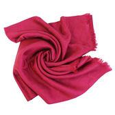 【COACH】經典COACH LOGO 羊毛混桑蠶絲流蘇絲巾披巾(玫瑰紅)