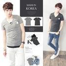 。SW。正韓 韓國製 修身顯瘦 彈性棉質 觸感優 彈性佳 口袋布標 V領短袖T 英倫【K11350】