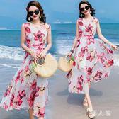 中大尺碼沙灘裙女新款海邊度假碎花超仙巴厘島波西米亞長裙 zm5106『男人範』