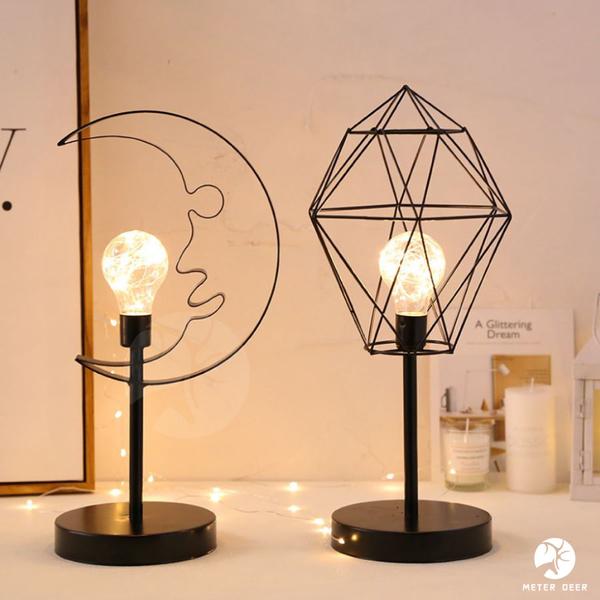 北歐風 鐵藝 LED星星 月亮 小夜燈 浪漫 桌燈 幾何造型 復古 工業風 氣氛燈 電池 USB-米鹿家居