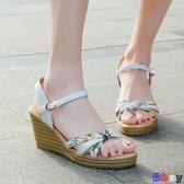 Bbay 楔型涼鞋 涼鞋 平底 厚底 時尚 坡跟 高跟 鞋子