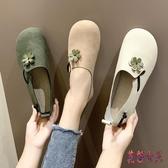 圓頭娃娃鞋豆豆鞋女2019秋季新款花朵平底可愛ins一腳蹬孕婦單鞋CM1241【花貓女王】