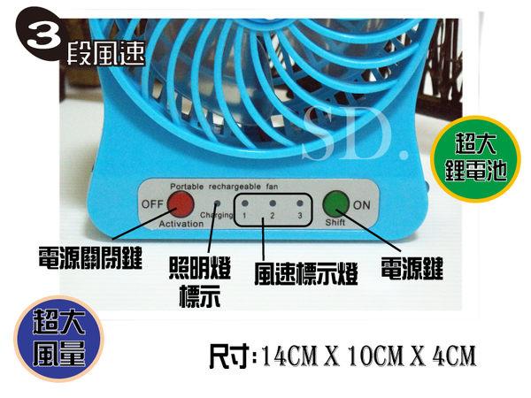 台菱牌-充插兩用超大鋰電池/USB 小夜燈強力小風扇