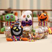 【BlueCat】萬聖節南瓜黑貓蝴蝶結布藝圓形裝飾糖果罐