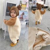 嬰童裝冬季嬰兒保暖羊羔絨連體衣毛絨絨寶寶爬爬服外出