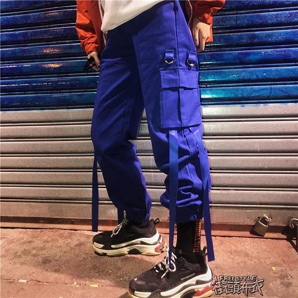 Korea studios. 正韓國復古大口袋飄帶工裝束腳運動長褲 19ss男女款   街頭布衣