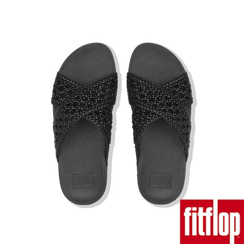 【FitFlop】LULU WICKER WEAVE CROSS SLIDES(黑色)限時回饋6折