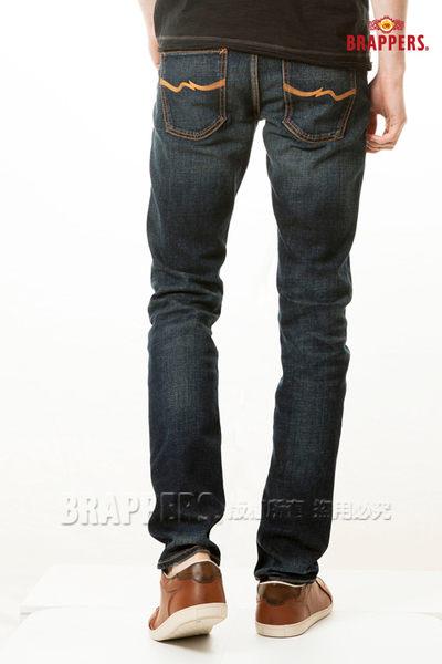 BRAPPERS 男款 彈性中腰窄版直筒褲-藍
