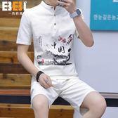 棉麻上衣 中國風唐裝夏季男士棉麻短袖套裝青年亞麻t恤上衣中式漢服短褲潮