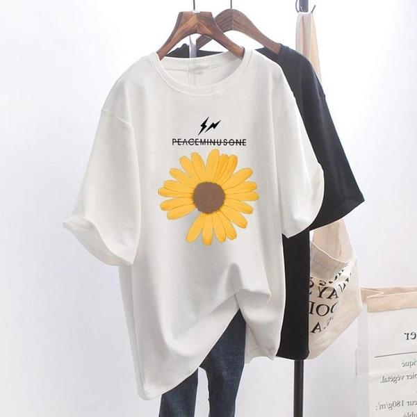 網紅超火INS小雛菊短袖T恤女夏裝2020新款白色寬鬆大碼半袖上衣潮