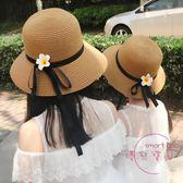 兒童帽子 夏天防曬親子太陽沙灘帽母女童涼帽遮陽帽出游中大兒童草帽小清新