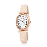 【Folli Follie】METAL CHIC城市時間羅馬橢圓時尚腕錶-米白款/WF18R029SPS_PI/台灣總代理享兩年保固