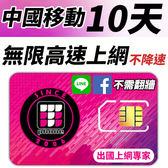 【TPHONE上網專家】 中國移動 10天無限4G高速上網 不降速 不須翻牆 FB/LINE直接用