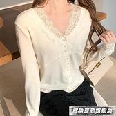 蕾絲上衣白色蕾絲小衫網紗打底衫女裝新款早秋內搭洋氣法式上衣2021年秋款 風馳 雙11特價