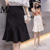 魚尾裙a字裙半身裙夏女新款韓版高腰荷葉邊包臀裙一步裙長裙     麥吉良品