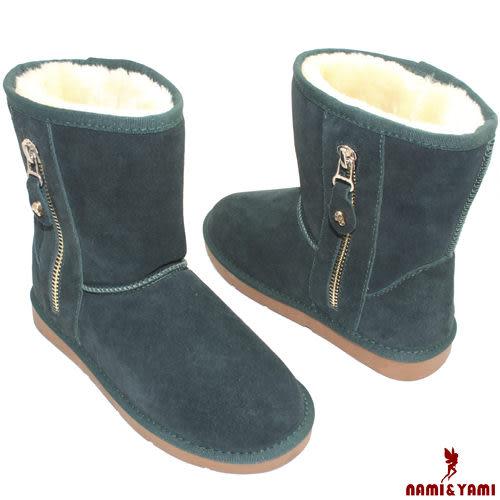 【Nami&Yami】可愛百搭側邊拉鏈裝飾素面雪靴(綠)