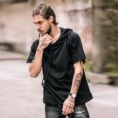 歐美街頭短袖衛衣男連帽寬鬆夏季嘻哈高街風短款半袖帽衫t恤【端午節免運限時八折】