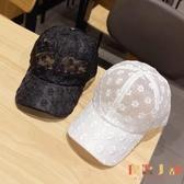 帽子女韓版蕾絲花朵棒球帽時尚百搭顯氣質遮陽鏤空鴨舌帽【倪醬小舖】