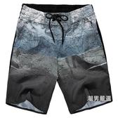 夏季男士五分花短褲休閒速幹沙灘褲男大尺碼寬鬆夏天大褲衩運動褲子L-6XL