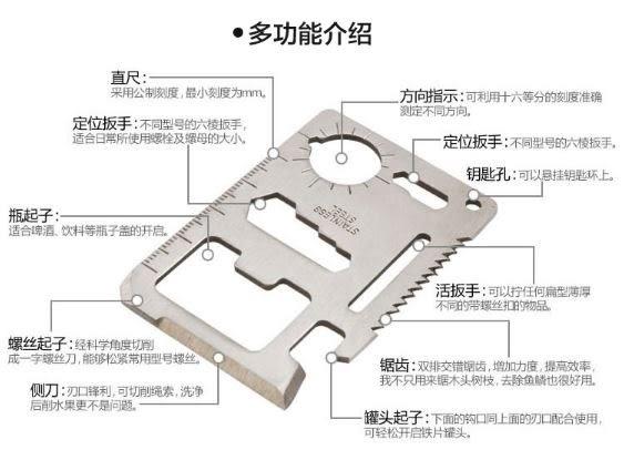 多功能軍刀卡 不銹鋼工具卡片刀露營必備卡刀創意卡 戶外野營【現貨】 (C080)