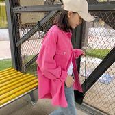 港風牛仔衣女春秋裝chic韓版寬鬆BF學生長袖復古工裝外套 深藏blue