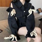 冬季新款韓版復古翻領割破設計蝴蝶結上衣寬鬆長袖牛仔外套女