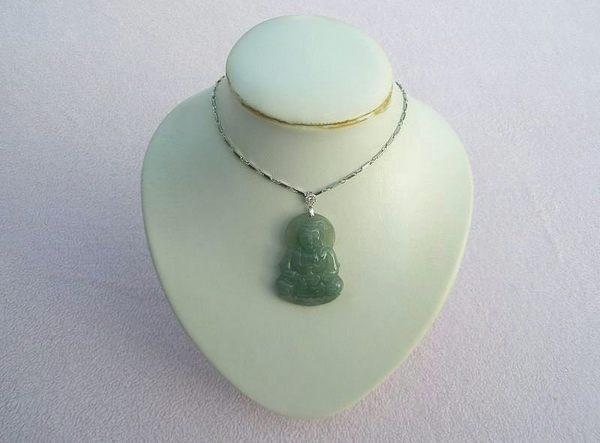 【歡喜心珠寶】【蓮座寶瓶觀音雕像玉墜】加銀K金墜頭.天然緬甸冰種翡翠滿綠色「A貨附保証書」