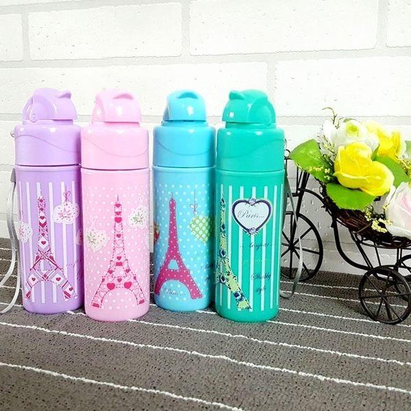 水杯【KCG097】巴黎鐵塔吸管便攜玻璃杯250ml 水瓶 瓶子 咖啡杯 隨行杯 水壺-123ok