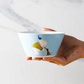 8折免運 小白熊米飯碗藍色陶瓷沙拉碗小碗湯碗面碗厚實耐用可愛創意