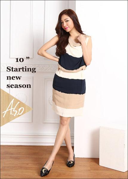 A.S.O 職場女力 柔軟真皮皮帶飾扣低跟鞋  黑