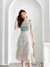 波點蛋糕裙小碎花雪紡半身裙女夏季高腰不規則a字白色中長款裙子 唯伊時尚