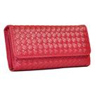 Miyo巴黎時尚風編織釘釦長夾(紅)