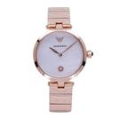 ARMANI 柔美風格的呈現時尚母貝優質腕錶-玫瑰金 AR11236