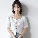 方領上衣 新款泫雅風小眾設計感短袖白色襯衫女短款法式方領泡泡袖上衣-Ballet朵朵