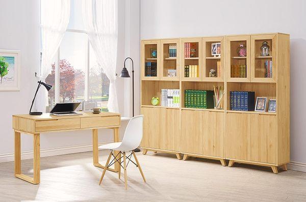 【森可家居】羅本北歐全實木2.7尺展示書櫃 8HY353-02 日系無印風 原木色 書櫥 展示櫃 MIT台灣製造