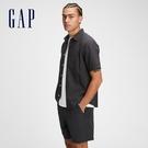 Gap男裝 亞麻工裝風素色短袖襯衫 737774-暗夜黑