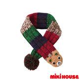 MIKI HOUSE 可愛立體普奇熊保暖圍巾(藍)