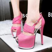 超高跟鞋子 細跟防水臺鏤空顯瘦魚口涼鞋【多多鞋包店】z7041