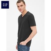 Gap男裝 簡約純色V領短袖T恤 440768-正黑色