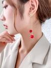 新年耳飾 流蘇耳環長款過年紅色耳釘高級感新娘結婚珍珠耳墜氣質耳飾女【快速出貨八折鉅惠】