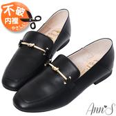 Ann'S超柔軟綿羊皮-訂製金結兩穿穆勒平底紳士鞋-黑