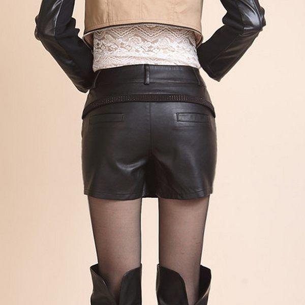 BRIGA UHA-7163高腰PU皮大碼秋冬顯瘦女褲裙假兩件a字皮裙褲