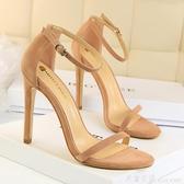 楊冪同款歐美簡約絨面露趾一字帶細跟涼鞋夏季性感宴會女超高跟鞋