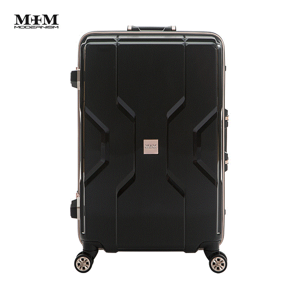 MOM JAPAN日本品牌 新款 輕量化鋁框亮面 PP材質 行李箱/旅行箱 -20吋-黑 M3002