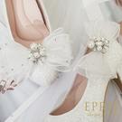 獨家訂製款 珍珠寶石蝴蝶結(白色) 婚鞋推薦飾扣鞋夾 婚鞋裝飾 浪漫婚鞋