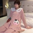 睡衣女時尚春夏季長袖薄款可愛網紅公主風春秋款產后家居服可 快速出貨