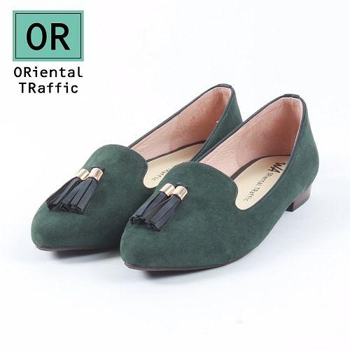 【ORiental TRaffic】經典流蘇尖楦樂福鞋-時髦綠