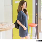OrangeBear《DA4548》台灣製造.腰部剪接設計素色休閒V領蝙蝠袖上衣--適 2L~6L