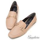訂製鞋 金釦方頭兩穿紳士鞋-卡其