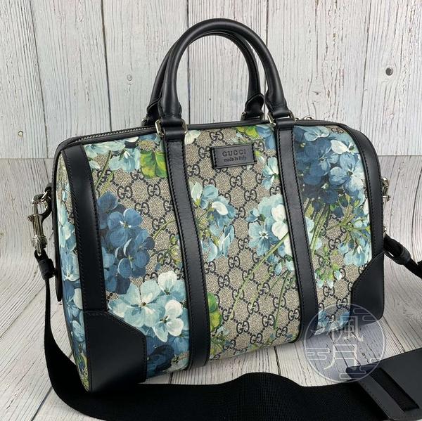BRAND楓月 GUCCI 古馳 406379 GG紋 印花 藍色天竺葵 波士頓包 手提包 側背包 旅行袋
